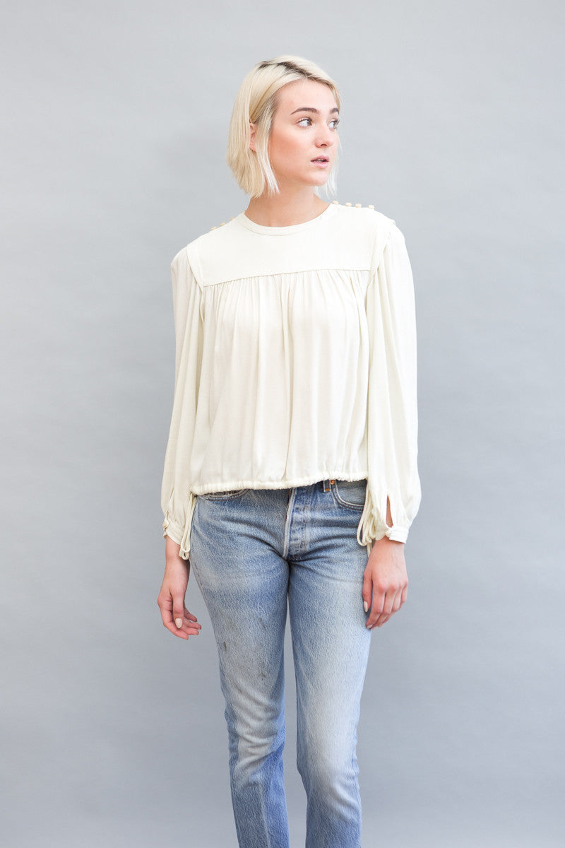 Nathael Long Sleeve Crepe Top
