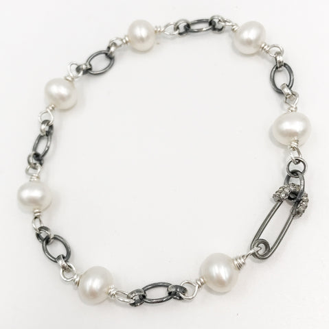 Oie Jewelry Pearl Sterling Silver Small Safety Pin Clasp Bracelet