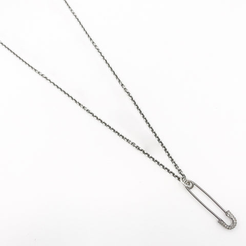 Oie Jewelry Large Diamond Safety Pin Sterling Silver Chain
