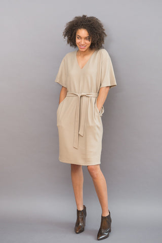 Obakki Bresia V Dress With Belt - grethen house