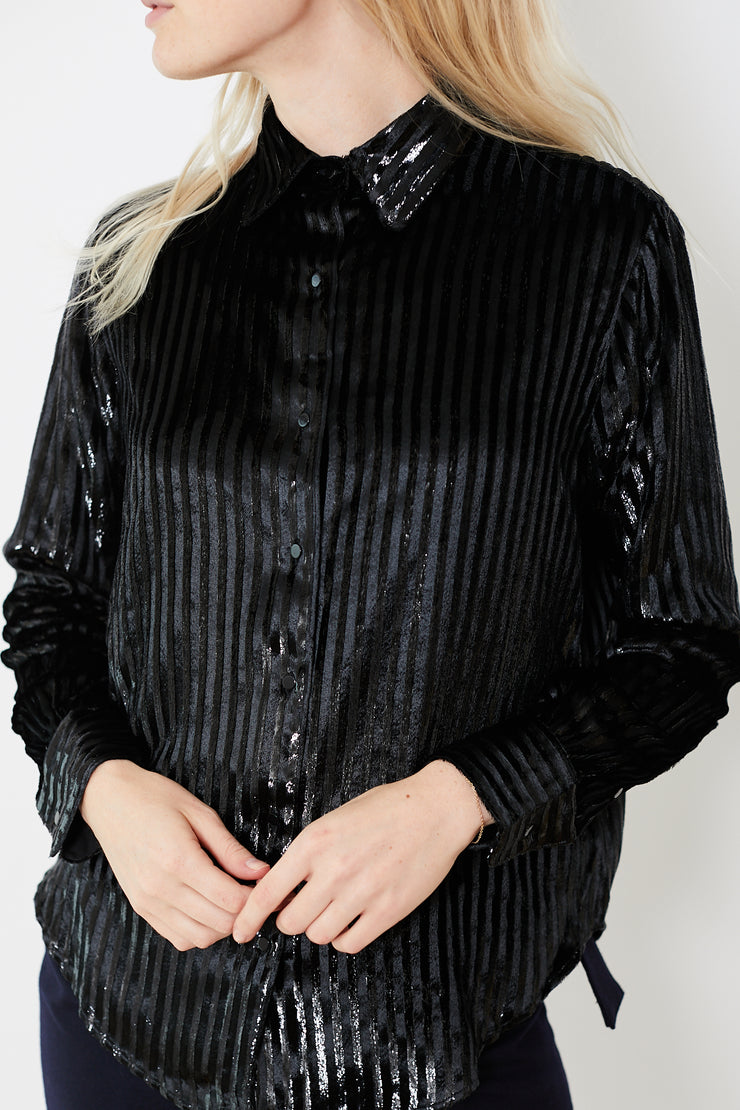Officine Générale Iris Silk Velvet Striped Shirt