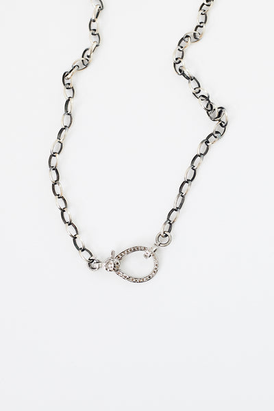 Oie Necklace w/ SS & Diamond Clasp