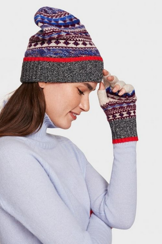 White + Warren Fair Isle Beanie