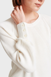 White + Warren Ribbed Button Cuff Crewneck