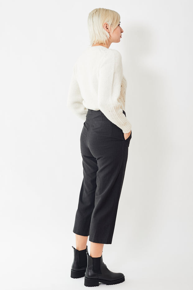 Pas de Calais Cropped Thin Stripe Trouser