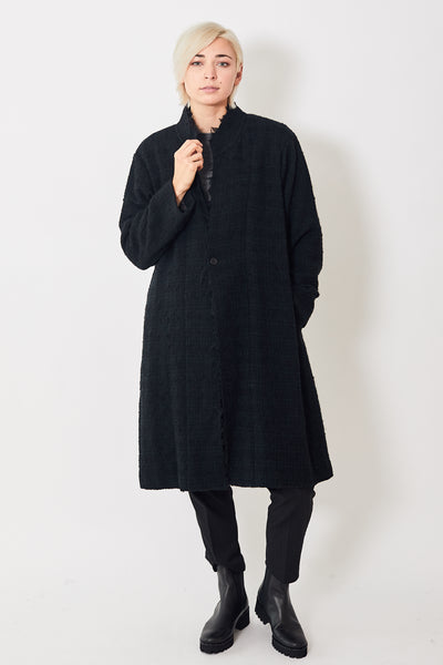 Pas de Calais Raw Hem Long Wool Coat