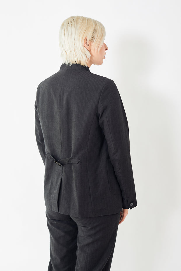 Pas de Calais Thin Stripe Wool Cotton Jacket