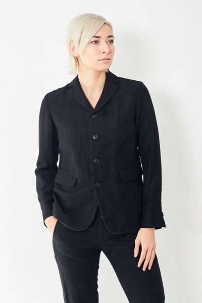 Pas de Calais Wool Linen Jacket w/Pinstripe Kick Pleat