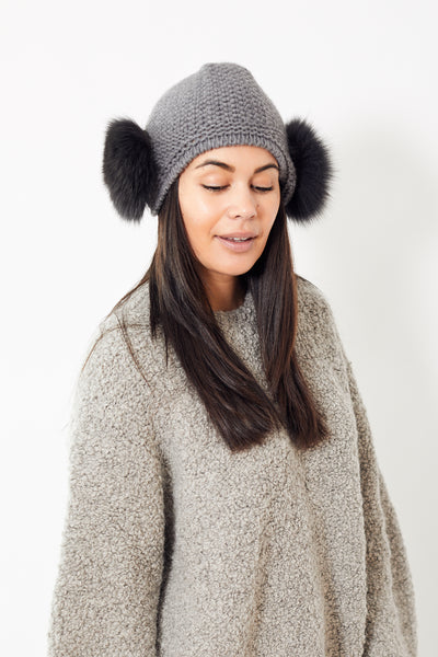 Raffaello Bettini Peruvian Cashmere Cap w/ Two Fox Pom