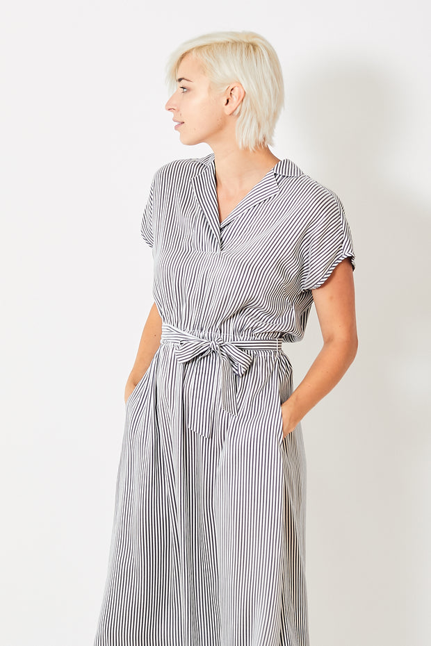 Peserico Striped Midi Shirt Dress