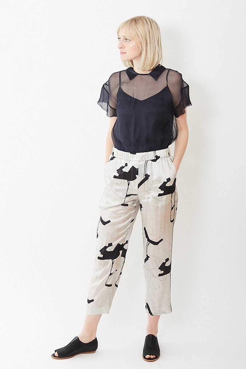 Peserico Abstract Print PJ Trouser with Piping
