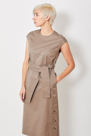 Peserico Cap Sleeve Belted Midi Dress