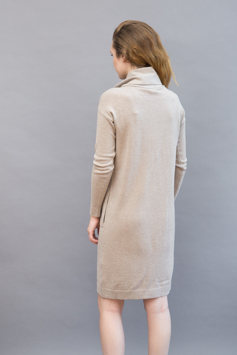 Peserico Cowl Long Sleeve Knit Dress