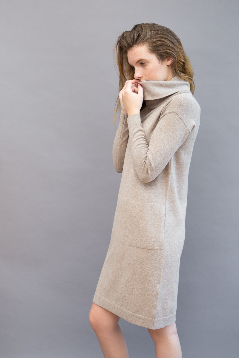 Peserico Cowl Long Sleeve Knit Dress - grethen house