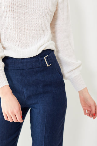 Peserico Denim Herringbone Blue Pants With Belt