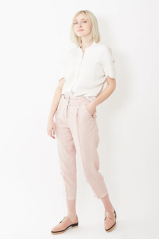 Peserico Linen Cinched High Waisted Pant with Belt
