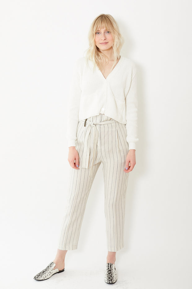 Peserico Linen Pants With Blue Pinstripe and Belt Beige/Blue Stripe