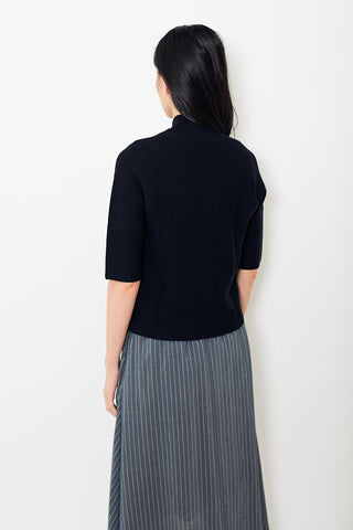 Peserico Navy Cotton 1 Button Short Sleeve Cardigan