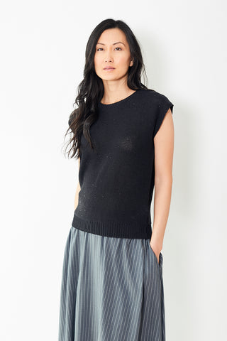 Peserico Navy Sleeveless Cotton Knit With Sequins