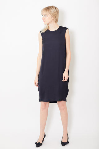 Peserico Navy Viscose Dress Sleeveless
