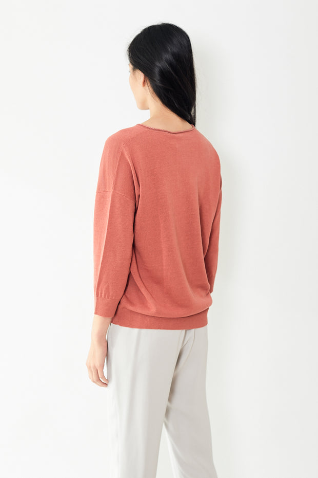 Peserico Orange Linen Cotto V Neck Sweater