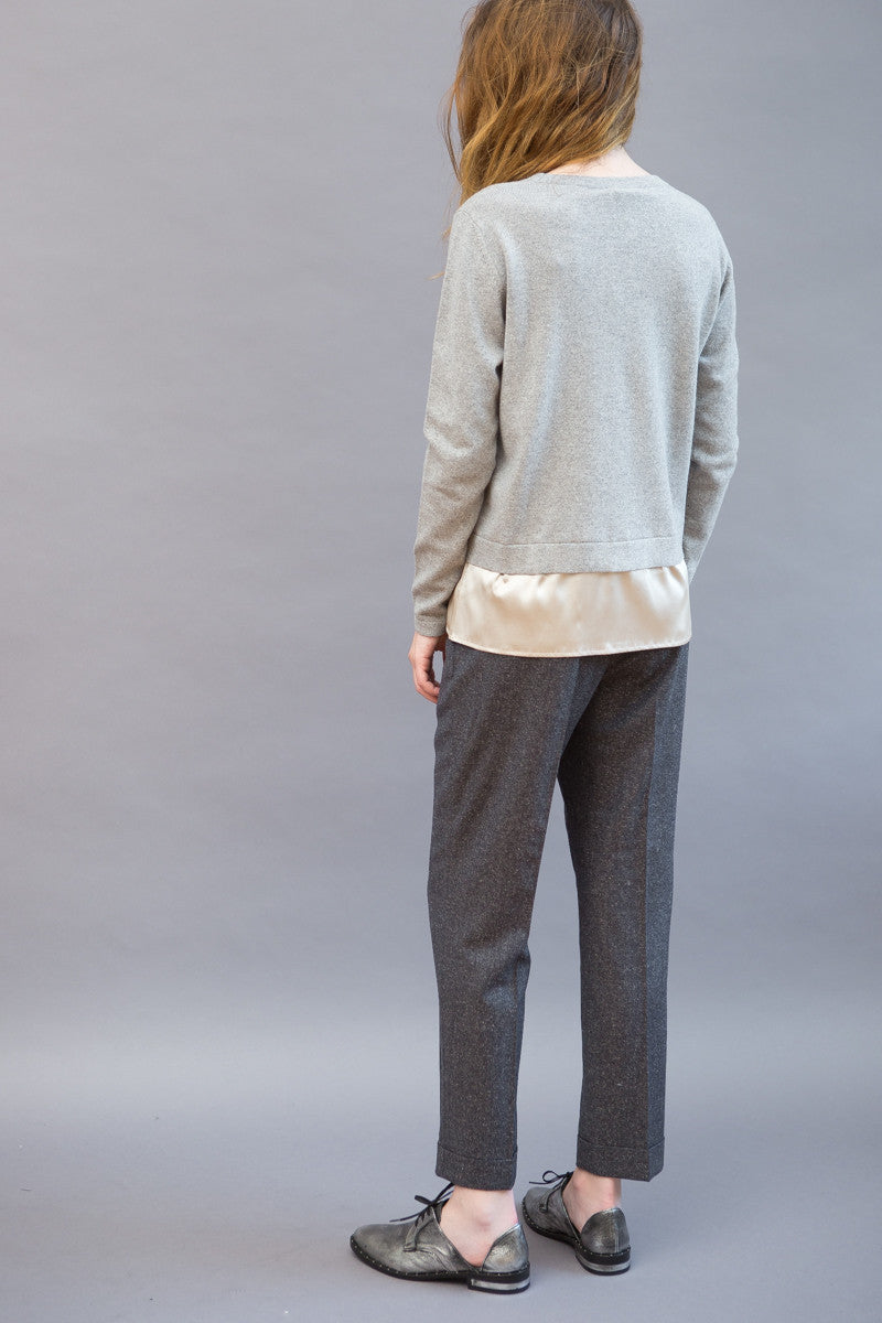 Peserico Pleat Crop Cuff Pant - grethen house