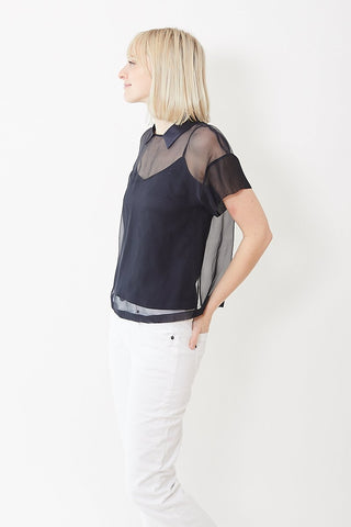 Peserico Sheer Top with Satin Collar