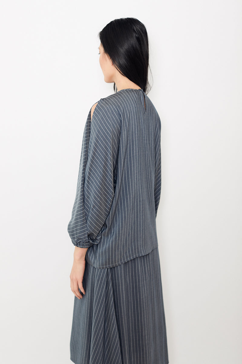 Peserico Slate With White Stripes Top With Open Sleeves