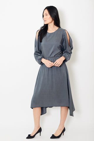 Peserico Slate With White Stripes Mid Length Skirt