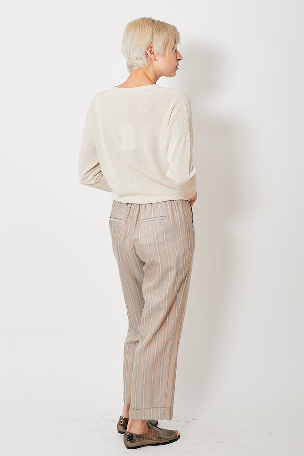 Peserico Striped Trouser w/ Embellished Side Stripe