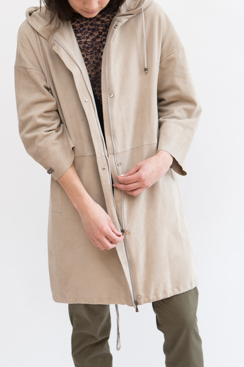 Peserico Suede Hooded Overcoat