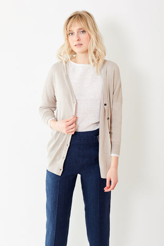 Peserico Taupe Long Cotton Linen Cardigan