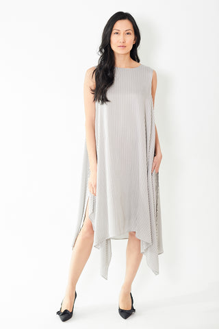Peserico Taupe Stripe Dress Sleeveless