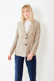 Peserico Taupe Stripe Linen Single Breasted Jacket