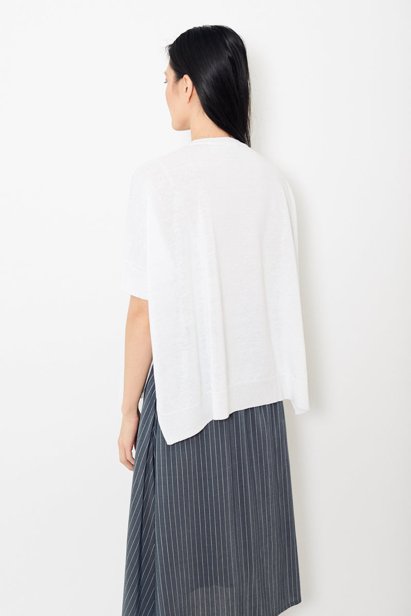 Peserico White Cotton Linen V Neck Poncho Knit