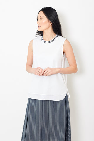 Peserico White Cotton Sleeveless Tee Shirt With String