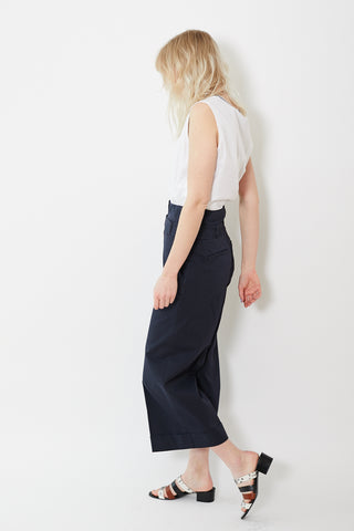 Peserico Wide Leg Cotton Pants With Belt Navy