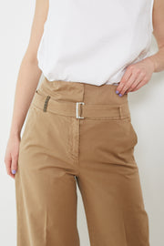 Peserico Wide Leg Cotton Pants With Belt Taupe