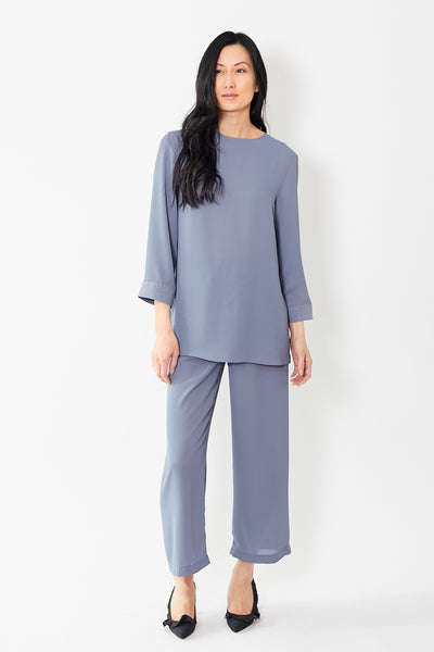 Peter Cohen Cropped Pull On Pant Tech Georgette