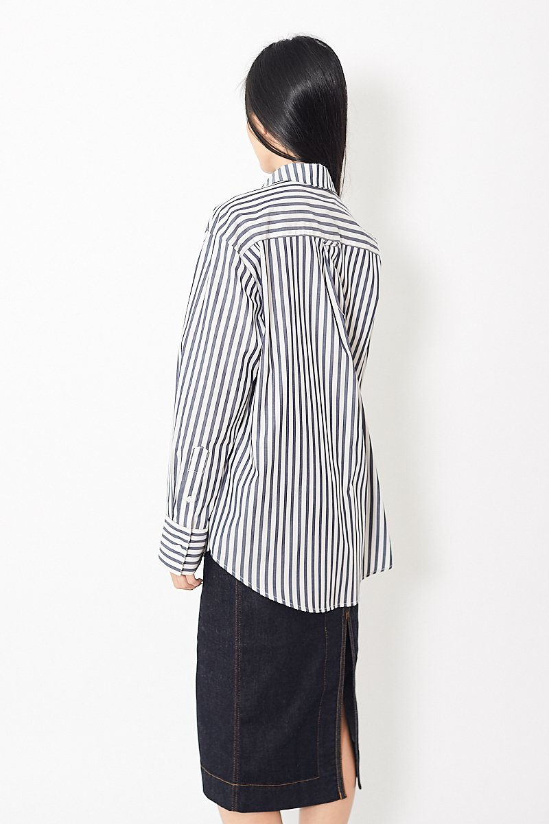 Mona Thalheimer Striped Cotton Shirt w/ Pocket