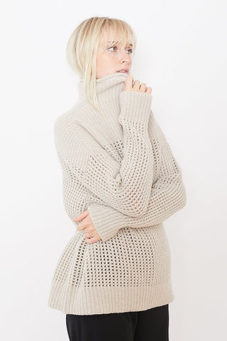 Pomandere Mock Neck Cross Knit Sweater