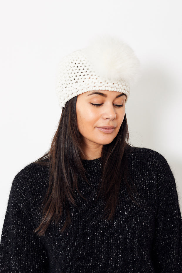 Raffaello Bettini Chain Ribbed Cashmere Cap w/ Fox Pom