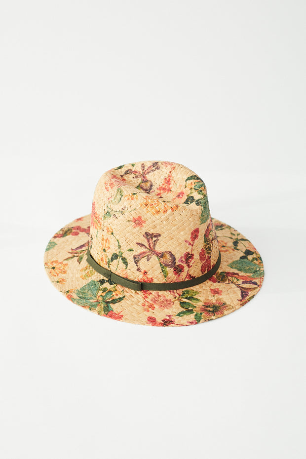 Raffaello Bettini Printed Fedora Straw Hat