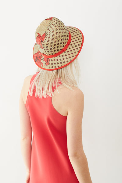 Raffaello Bettini Printed Rafia Fedora