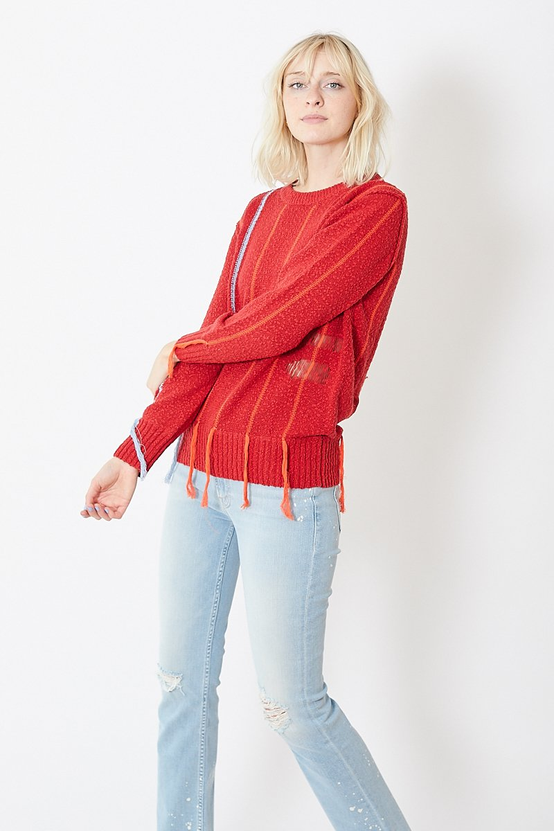 Raquel Allegra Cotton Fringe Crew