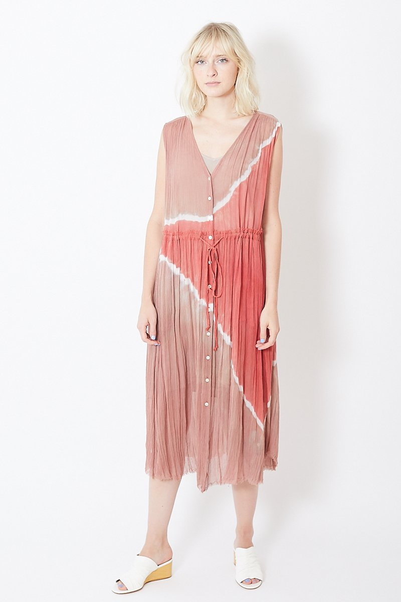 Raquel Allegra Crinkle Chiffon Button Front Dress
