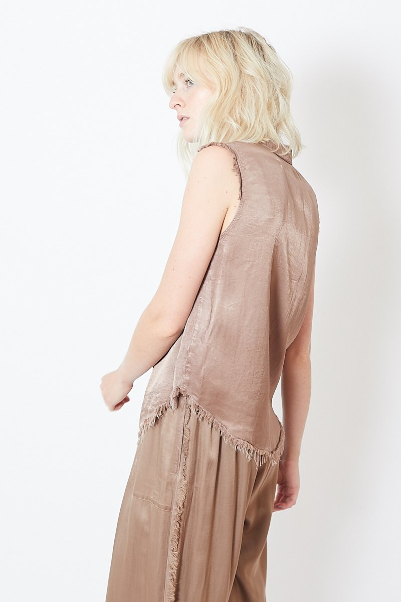 Raquel Allegra Pebble Satin Sleeveless Henley