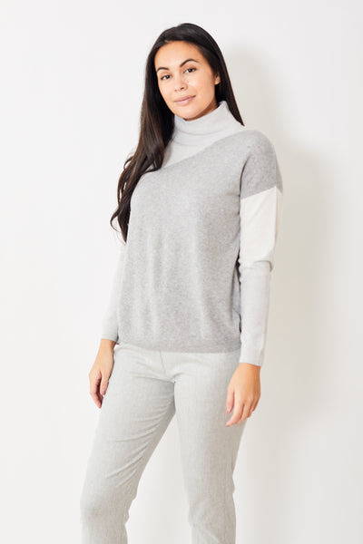 Rossopuro Color Block High Neck Sweater