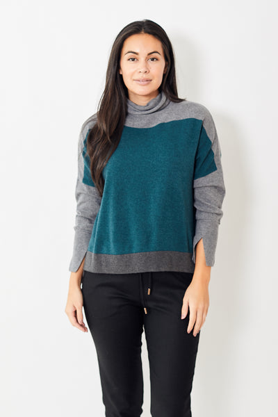 Rossopuro Color Block Stripe Turtleneck