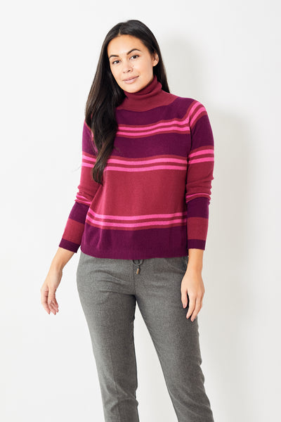 Rossopuro Multi Stripe Turtleneck